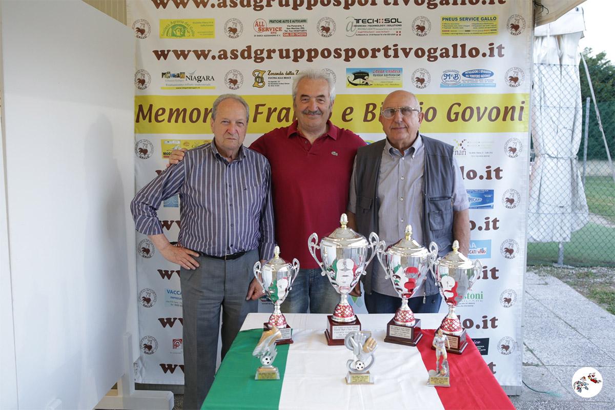 Diegoli Vittorio, Marchetti Bruno e Baldissara Carlo con i trofei del 2018